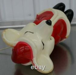 Vintage Union Products Hard Plastic Blow Mold Santa Christmas Mouse 15 With Light