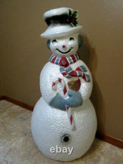 Vintage Union Products Lighted Dimpled Snowman Blow Mold 40Tall Rare