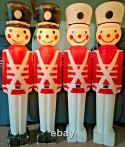 Vintage Union Soldiers Nutcracker Christmas Blow Mold Light Yard Decor Lot Of 4