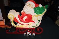 Vtg 1999 Grand Venture Santa Sleigh With 2 Reindeer Blow Mold Christmas Yard Decor
