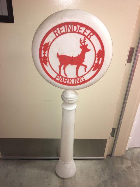 Vtg 54 Reindeer Parking Sign Christmas Blow Mold Outdoor Yard Decor Rare Htf