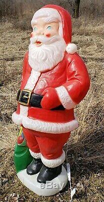 Vtg Blow Mold Santa Claus 5 Tall Christmas Lighted Yard Decoration