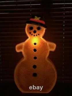 Vtg Christmas 25 Brown Gingerbread Snowman Black Hat Blow Mold Don Featherstone