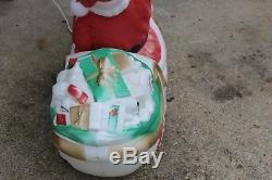 Vtg Empire Santa Sleigh Lighted Blow Mold Christmas Yard Decoration
