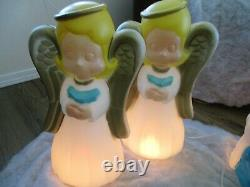 Vtg General Foam Blow Mold Lighted Child's Nativity Set With Praying Angels