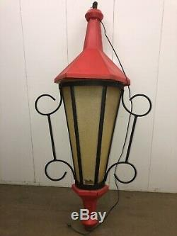 Vtg Huge Municipal Christmas Street Light Lamp Pole Lantern Blow Mold With Bracket
