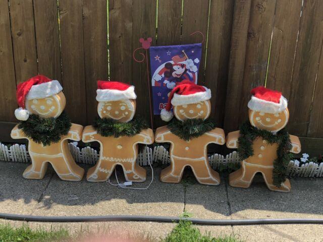 Vtg Lot Of 4 Union Blow Mold Gingerbread Man Boy Girl Christmas Yard Decor 24