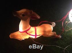 Vtg Santa Sleigh & Reindeer Blow Mold Christmas Lighted Yard Decor