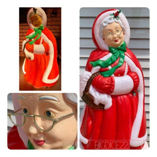 Vtg Santa's Best Mrs. Santa Claus Christmas Blowmold Light Up Yard Decor -euc