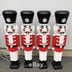 Vtg Set 4 Union Products Nutcracker Soldiers 30 Christmas Lighted Blow Mold