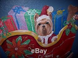 YORKIE SLEIGH SET Life Size Hand Painted Santa Christmas Yard Art Display OOAK